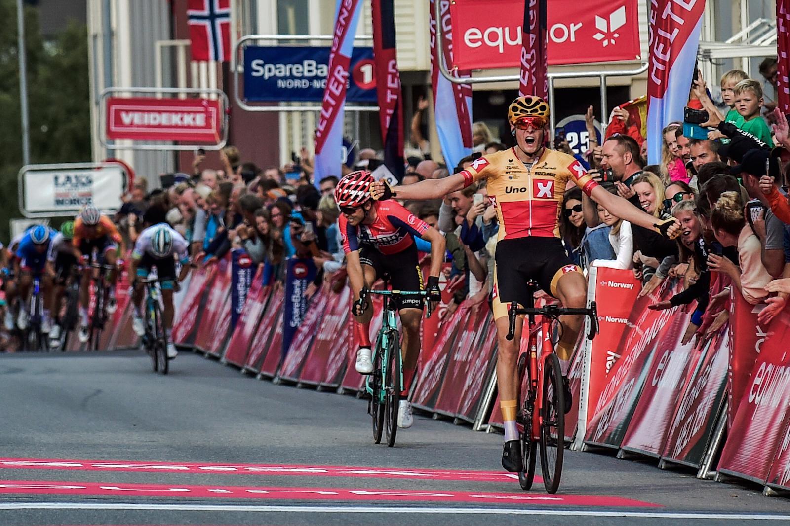 KARRIEREBESTE: Markus Hoelgaard vant finaleetappen av Arctic Tour of Norway i Narvik. Foto: ARN/Gautier Demouveaux