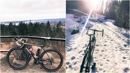 Geir Tonny brovold sykler på snø