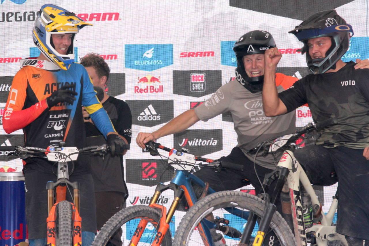 Zakarias Blom-Johansen, som er svensk mester i enduro for andre år på rad. tok sølv med landslagskameratene Robin Wallner og Alexander Kangas i tidenes første UCI-sanksjonerte enduro-VM. Foto: Ingeborg Scheve