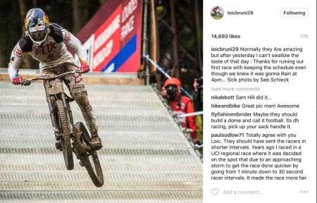 SINT: Loic Bruni tok til Instagram for å kritisere avgjørelsen om ikke å fremskynde starten til herrene i Lourdes. Faksimile: Instagram, Seb Schieck