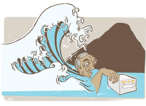 Bling blong: Det er lett å bli tatt av bølgen. Vi sier ikke mer. Illustrasjon: Joar Christoffersen