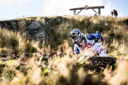 Brage Vestavik under finalen i Red Bull Hardline i Wales på søndag. Foto: Boris Beyer/Red Bull Content Pool