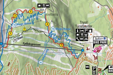 Den rødstiplede linjen viser hvor den nye heisbaserte stien i Trysil Bike Arena skal ligge. Den blir rød-gradert og totalt 6 kilometer lang. Illustrasjon: Trysil Bike Arena