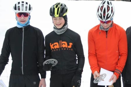William H. Larsen vant Mattila Fatbike Marathon 2019 foran William Handley  (til høyre) mens hjemmefavoritten Pär Bäcker ble nummer tre. Foto: Arrangøren