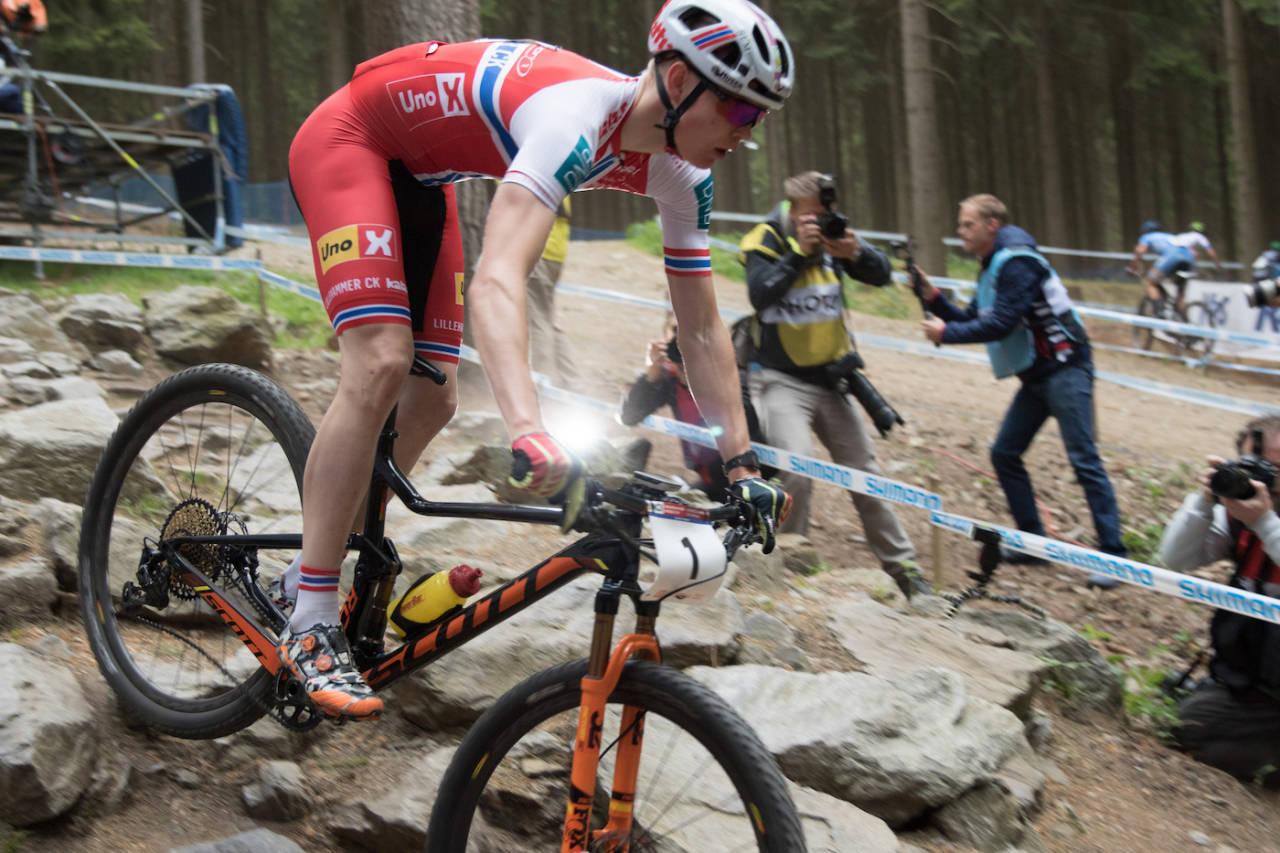 Petter Fagerhaug vant verdenscupåpningen i rundbane i Nove Mesto. Foto: Bengt Ove Sannes