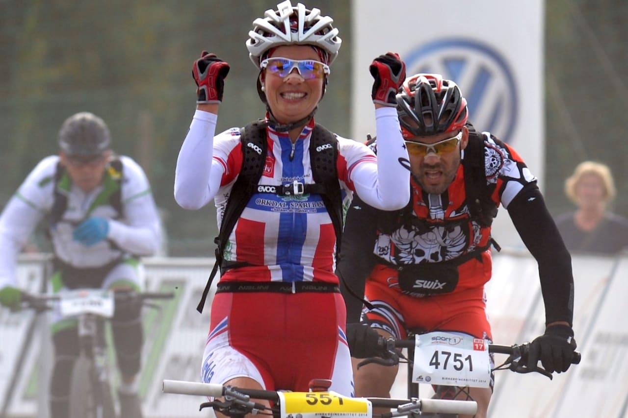 Borghild Løvset vant Birkebeinerrittet i 2014. Når hun nå returnerer til Birken, er det ikke pallplasser hun jager, men sykkelgleden. Foto: Kent Murdoch