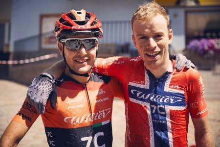 Marco Rebagliati og Ole Hem i Wilier Force 7C ble nummer tre i Trans Alp 2019. Neste uke skulle de debutert i Cape Epic. Foto: Trans Alp