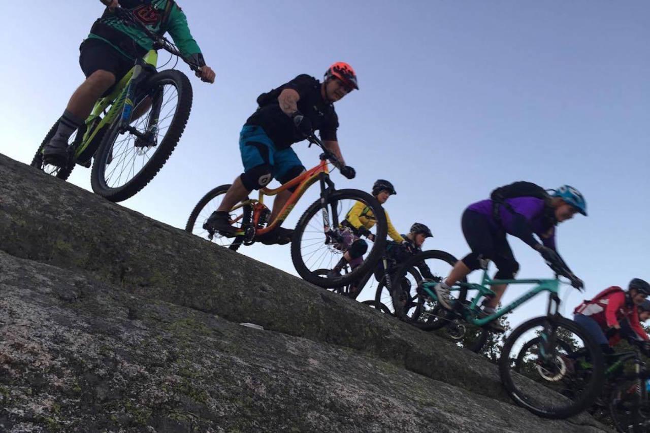 Jentegruppa i Gresvig IF Stisyklister på tur over svabergene i skogene rundt Fredrikstad. Foto: Hanne H. Karlsen