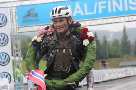 Søren Nissen var inne på 4:53:23 og forteller om grumsete forhold på fjellet. Foto: Ingeborg Scheve