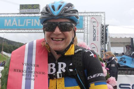 Jennie Stenerhag tok sin andre seier i Birkebeinerrittet. Sist var i 2017. Foto: Ingeborg Scheve