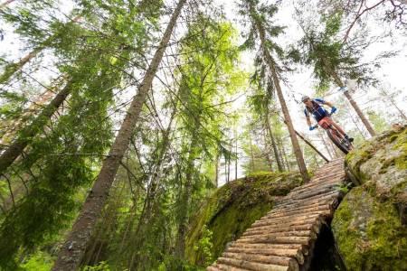 I Oslo Idrettskrets strategiplan for 2016-2020 skal tilrettelegging for sykling i terreng og på landevei prioriteres på samme linje som annen idrett, og at stier slik som denne ved Grønmo er anlegg på lik linje med kunstgressbaner. Foto: Snorre Veggan