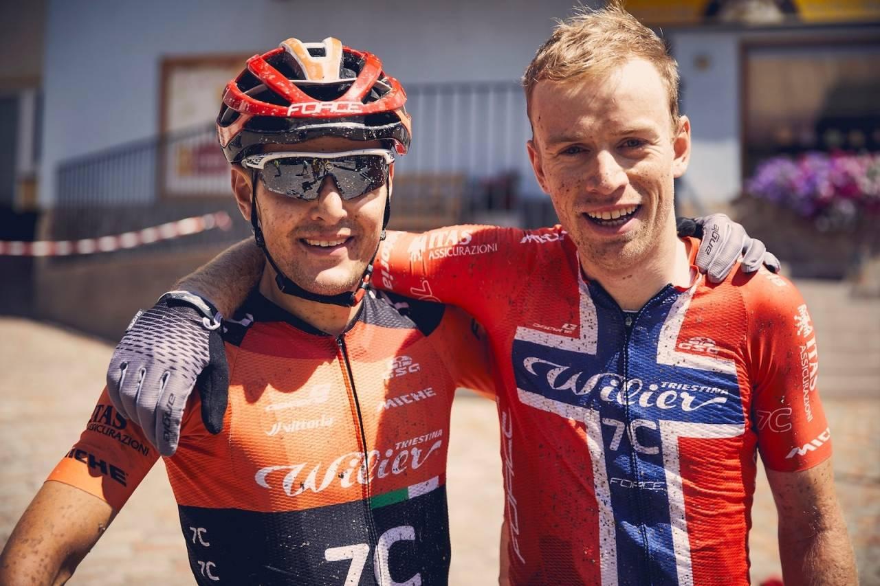 Ole Hem og makker Marco Rebagliati på Wilier Force 7C sikret seg etappeseieren på den tredje dagen av TransAlp med hårfin margin etter en treveisspurt til målstreken. Foto: TransAlp