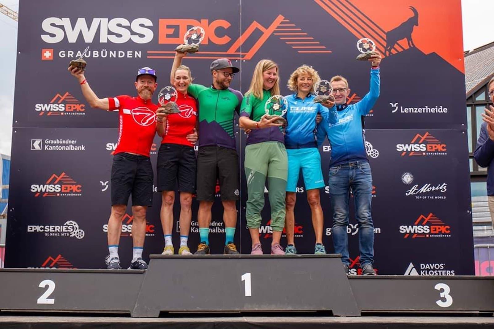 Anders Seim og Synne Steinsland vant både finaleetappen i Swiss Epic og femdagersrittet sammenlagt. Foto: Privat
