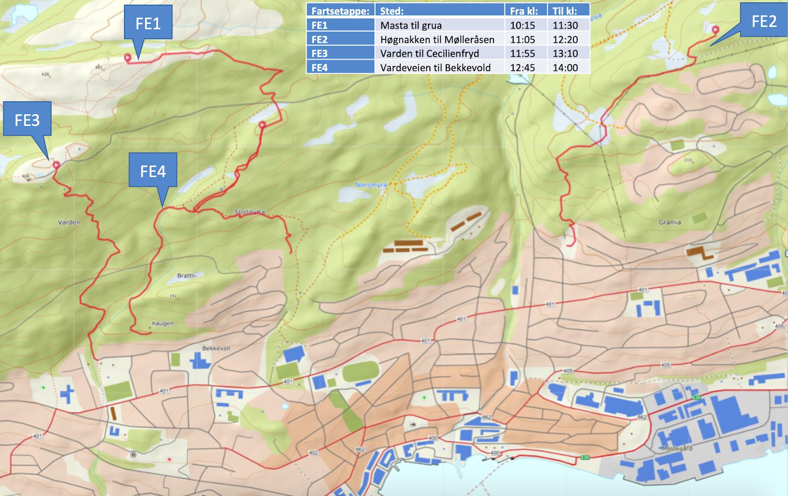 Dette er de fire etappene i Molde Enduro, som arrangeres for første gang på søndag.