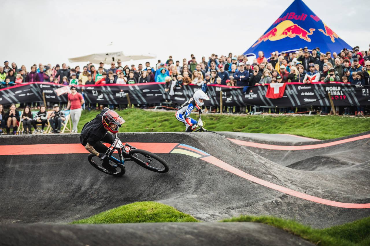Tommy Zula og Tristan Borel under pumptrack-VM 2019. Foto: Red Bull Content Pool