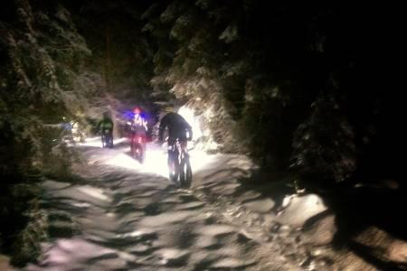 Stemningsfullt i skogen da NOTS Lillehammer arrangerte felles juletur fredag. Foto: Ingrid Hokstad