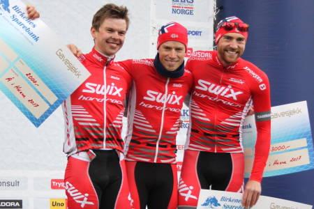 Ole Hem fra Swix Hard Rocx vant Å i Heiane ett sekund foran lagkompisen Fredrik Haraldseth, mens Vidar Mehl sikret seg tredjeplassen. Foto: Ingrid Lægreid/NCF