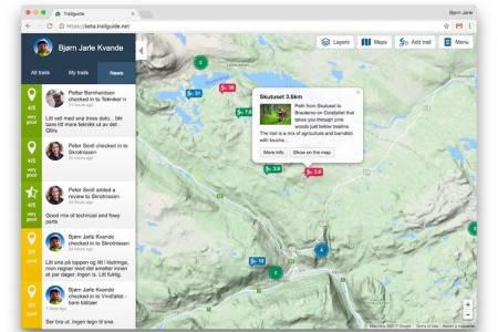Trailguide.net utvider tjenestene med blant annet ny sosial plattform som gjør innsjekking, rangering og deling enklere, samt at stadig nye stier i inn- og utland legges til. Foto: Bjørn Jarle Kvande