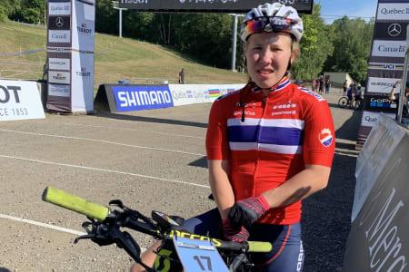 Helene Marie Fossesholm tok bronse i sin VM-debut under UCIs VM i Mont-Sainte-Anne i Canada i dag. Foto: Eddy Knudsen Storsæter