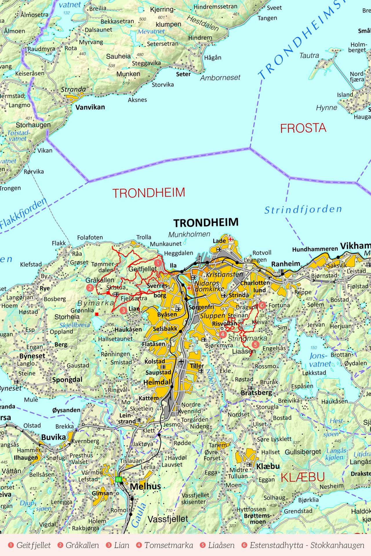 Oversiktskart over Trondheim med inntegnet rute. Fra Stisykling i Norge.