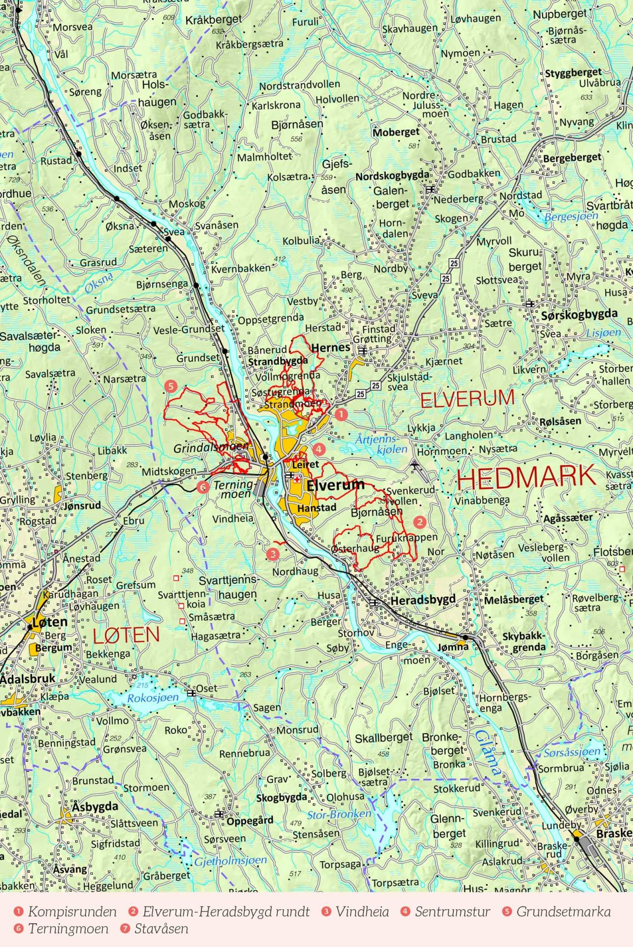Oversiktskart over Elverum med inntegnet rute. Fra Stisykling i Norge.