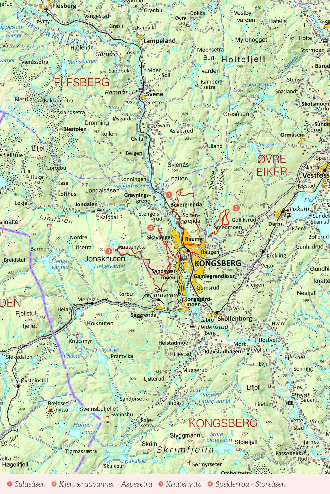 Oversikstkart over Kongsberg med inntegnet rute. Fra Stisykling i Norge.