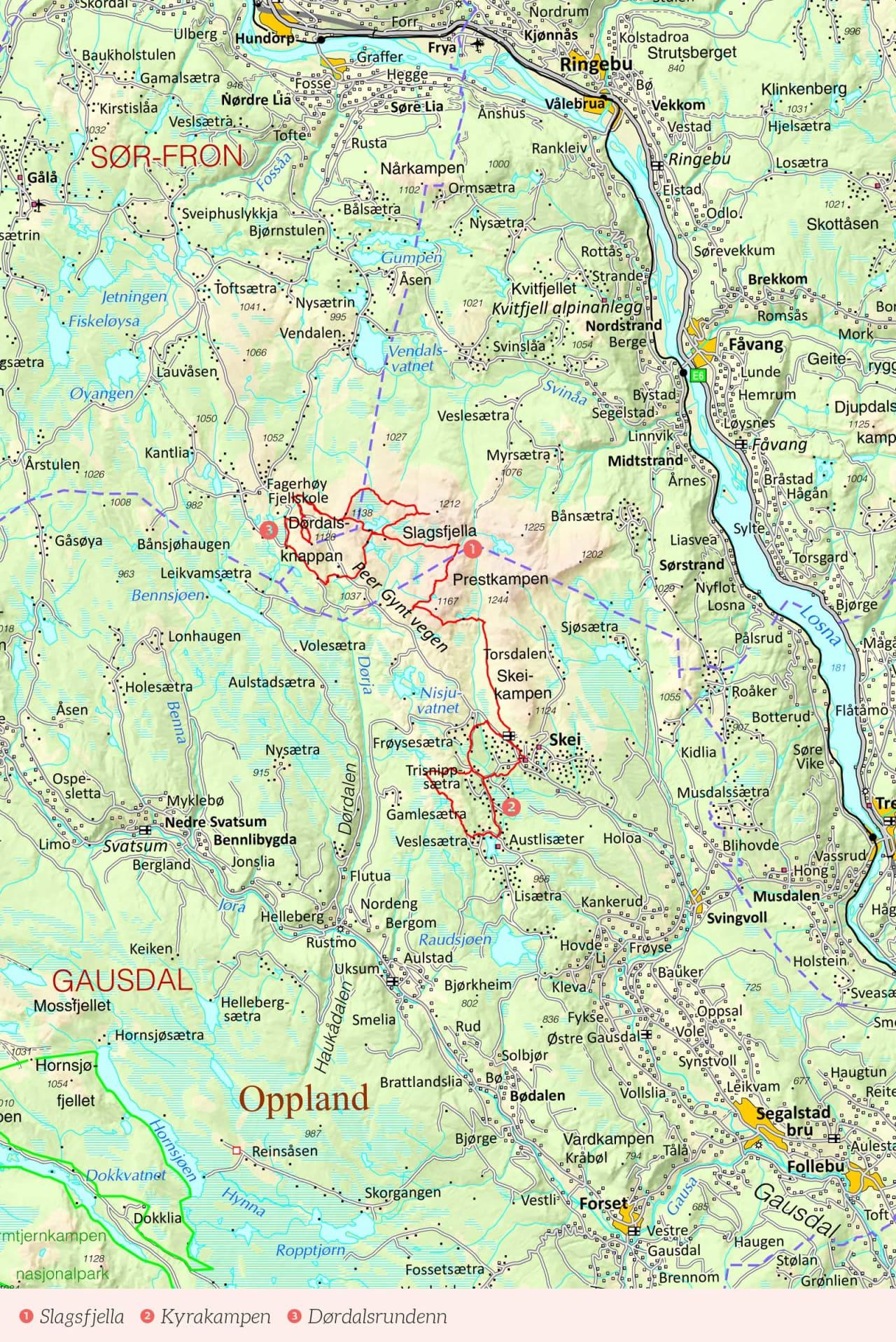 Oversiktskart over Skeikampen med inntegnet rute. Fra Stisykling i Norge.