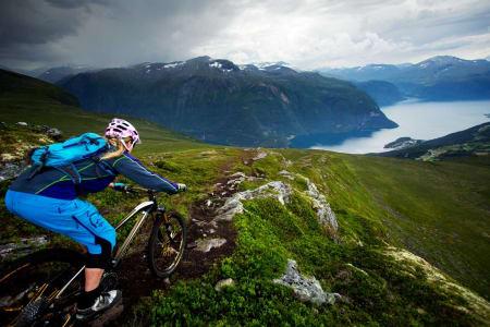 Ned fra Mefjellet byttes etterhvert fjordutsikt ut mot tett skog. Like bratt er det dog. / Stisykling i Norge.