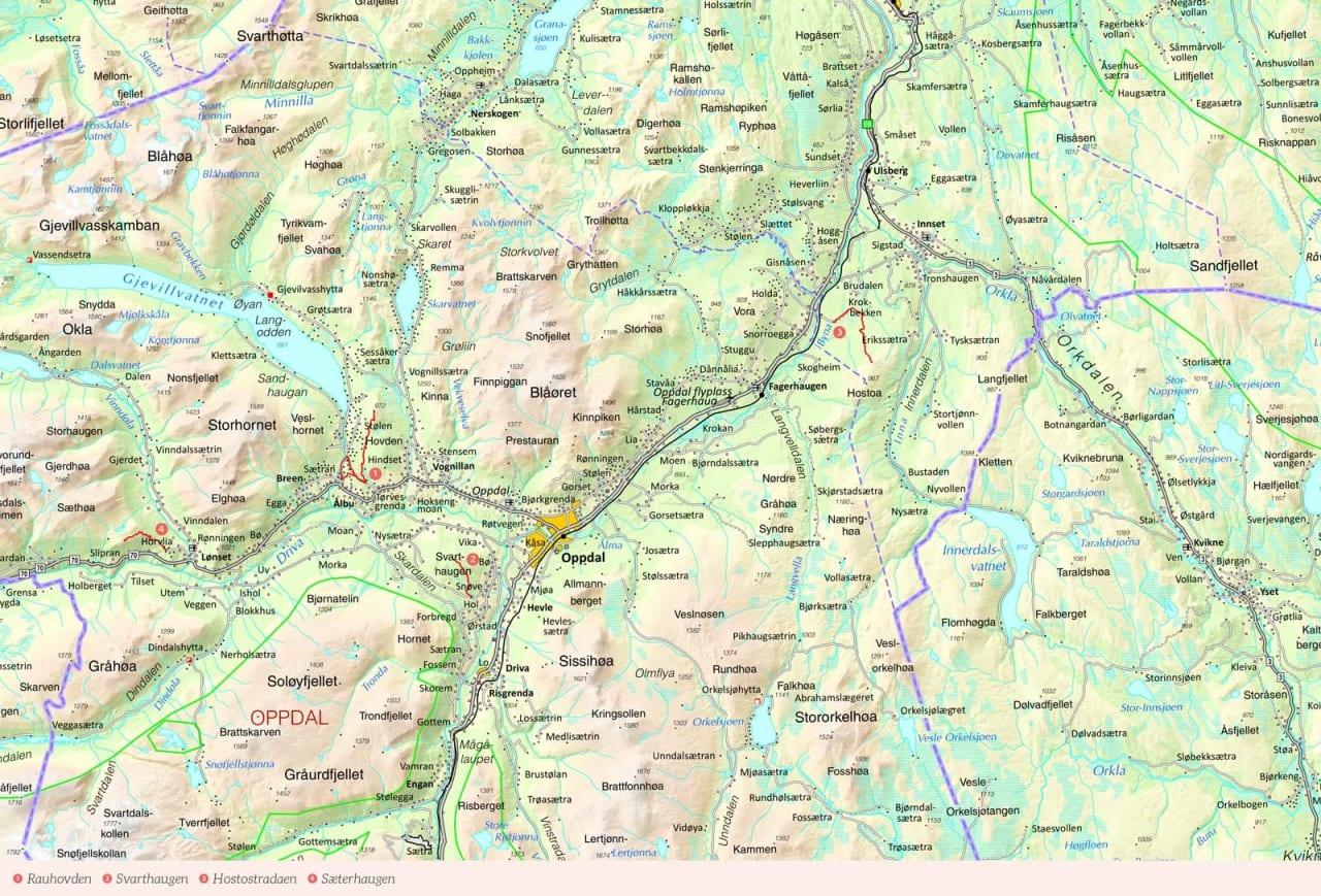 Oversiktskart over Oppdal med inntegnet rute. Fra Stisykling i Norge.