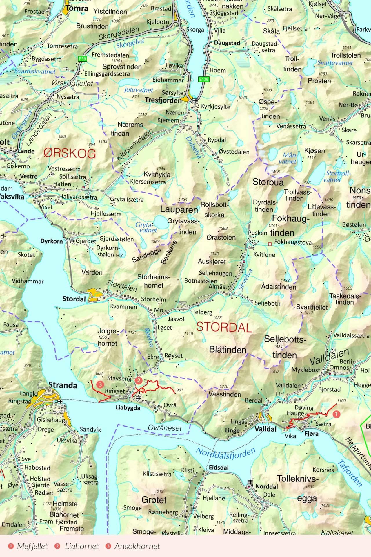 Oversiktskart over Sunnmøre med inntegnet rute. Fra Stisykling i Norge.