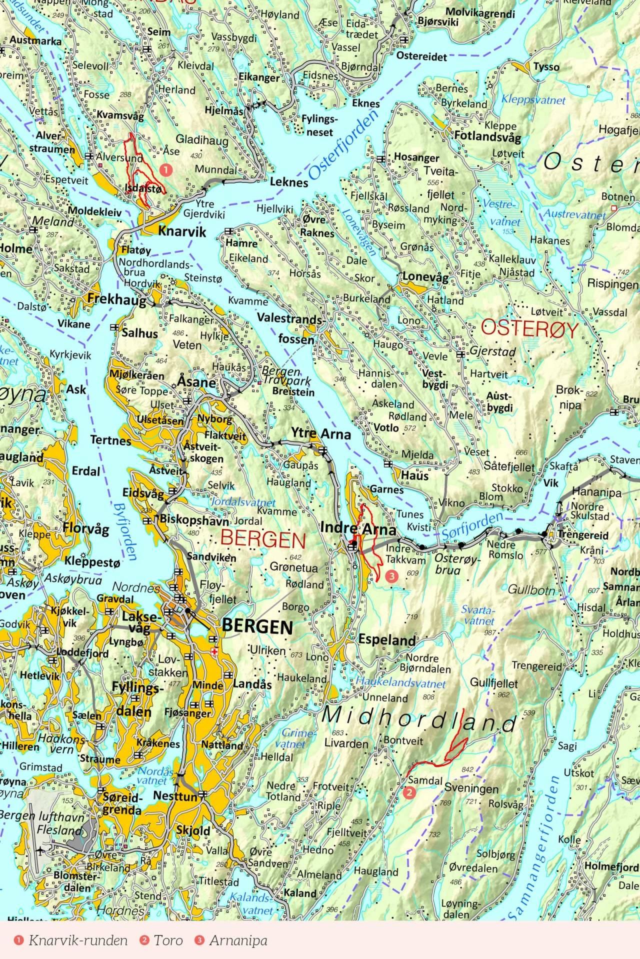 Oversiktskart over Bergen med inntegnet rute. Fra Stisykling i Norge.