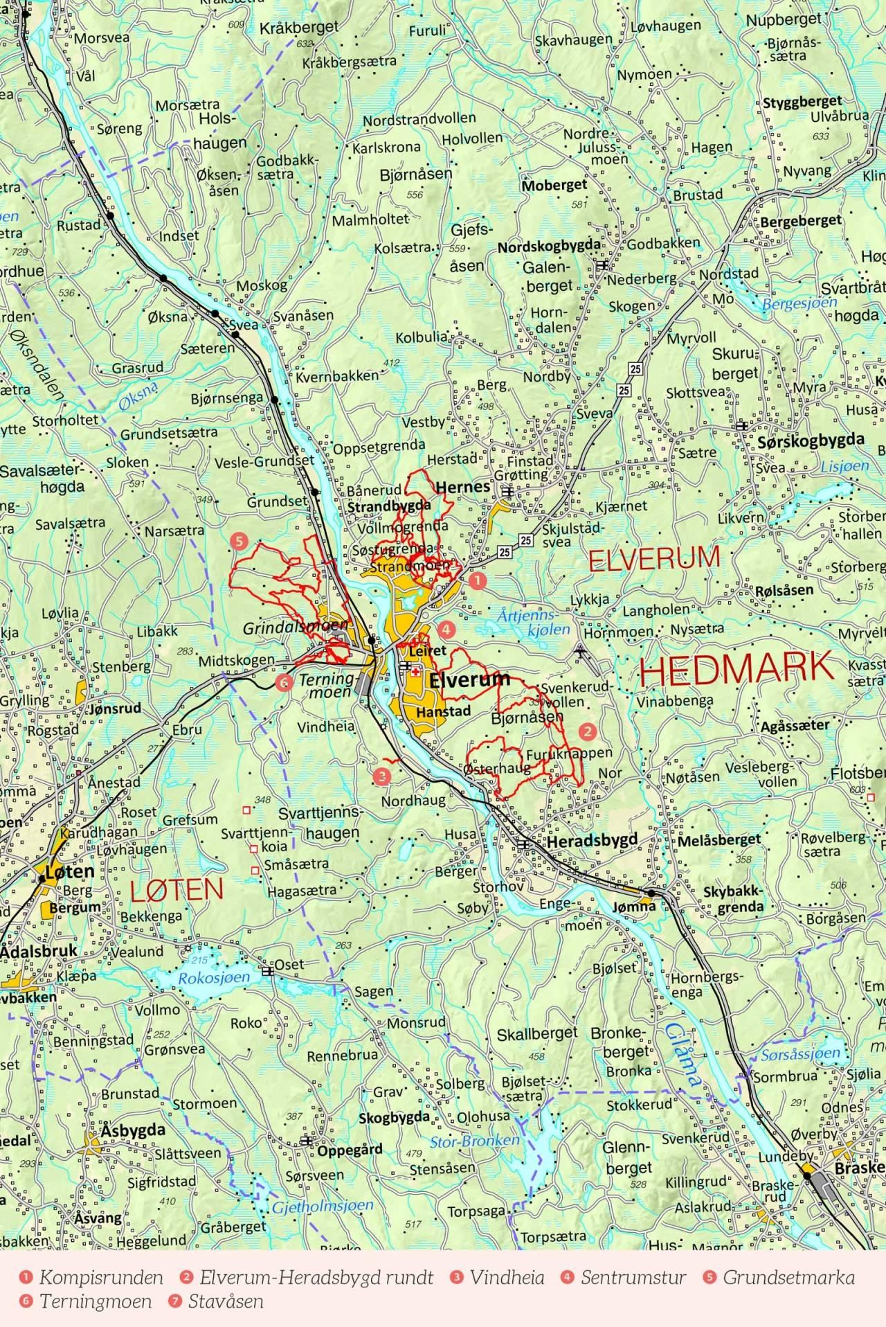 Oversiktskart over Elverum med inntegnet rute. Fra Stisykling i Norge. Fra Stisykling i Norge