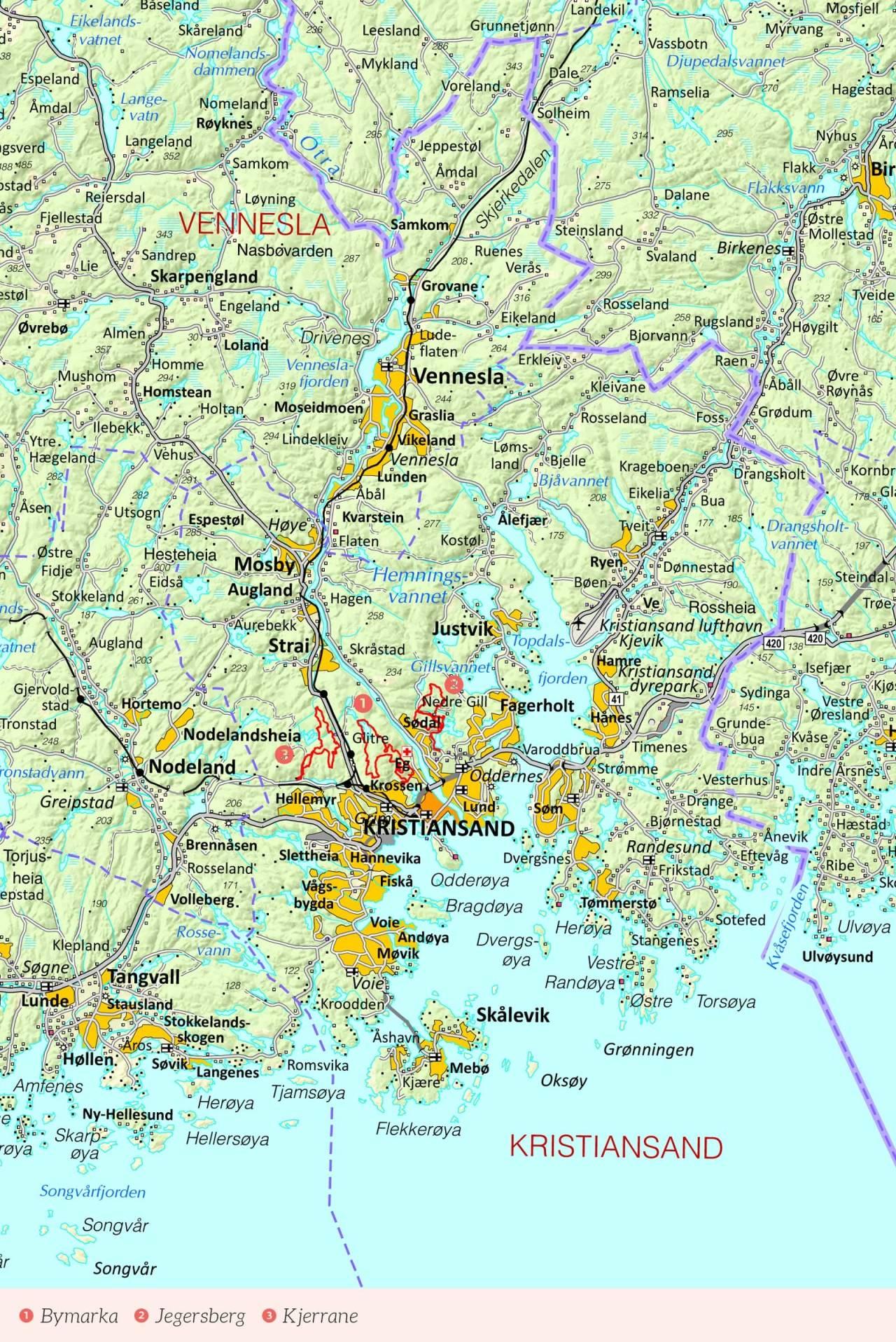 Oversiktskart over Kristiansand med inntegnet rute, Fra Stisykling i Norge.