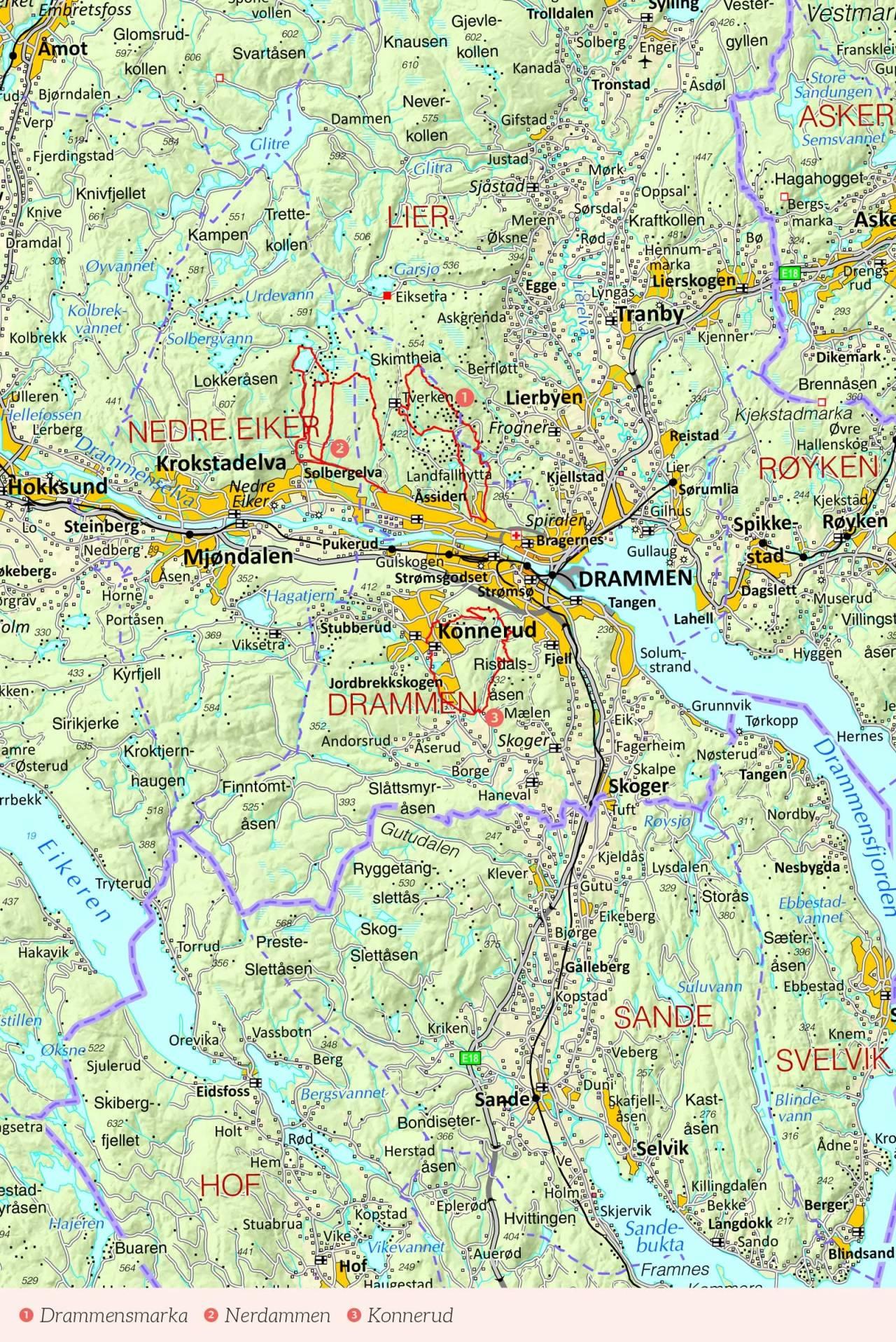 Oversikstkart over Drammen med inntegnet rute. Fra Stisykling i Norge.