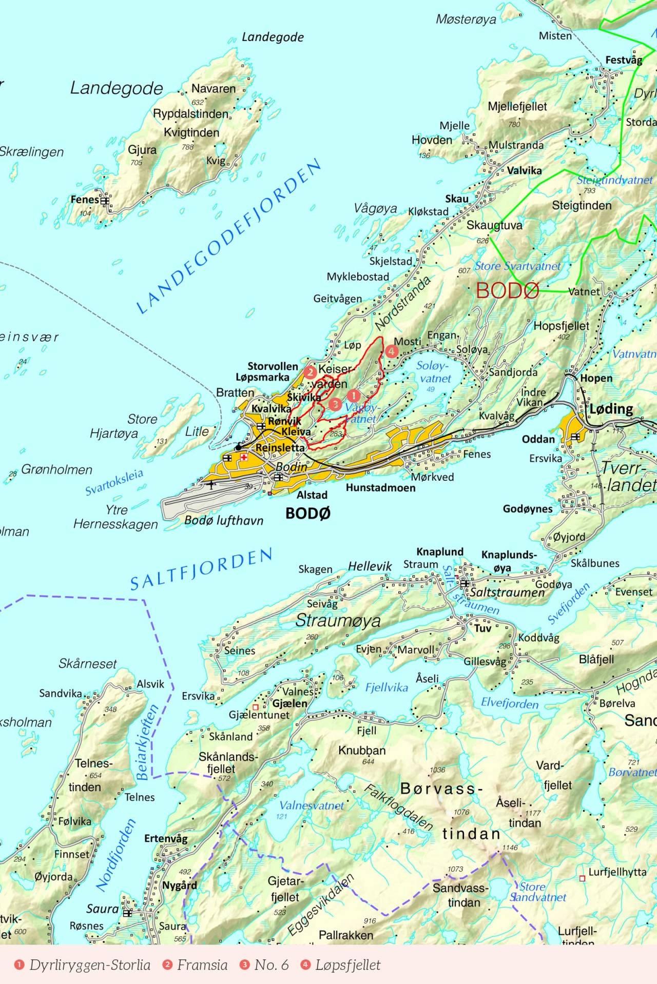 Oversiktskart over Bodø med inntegnet rute. Fra Stisykling i Norge.