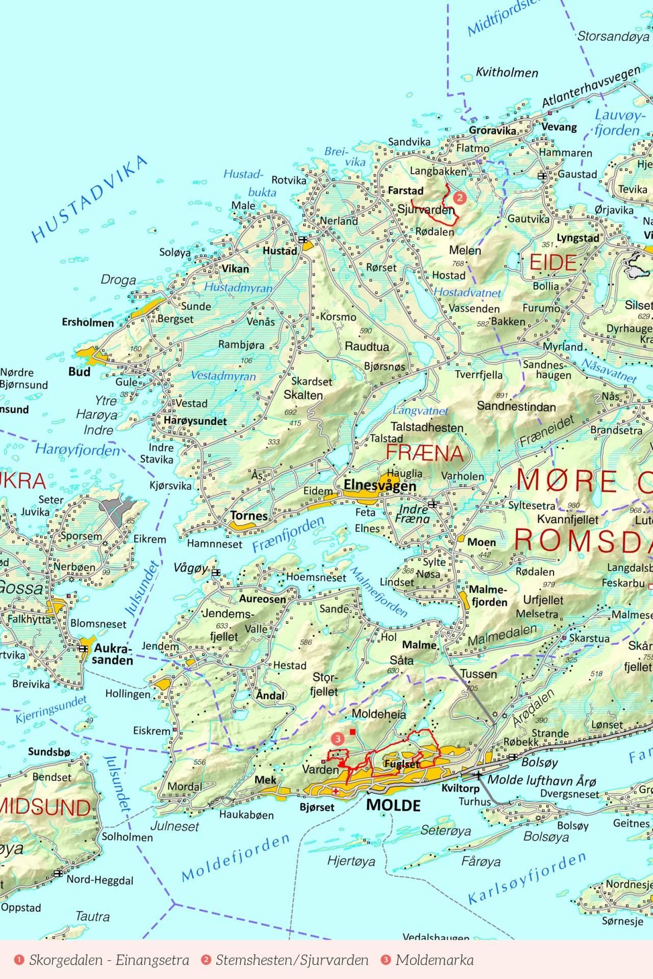 Oversiktskart over Romsdal med inntegnet rute. Fra Stisykling i Norge.