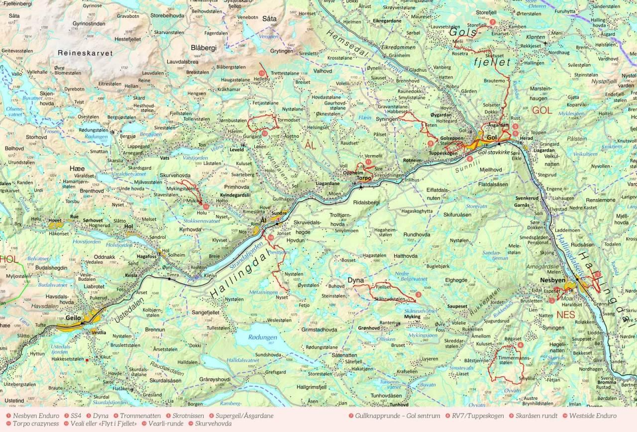 Oversiktskart over Hallingdal med inntegnet rute. Fra Stisykling i Norge.