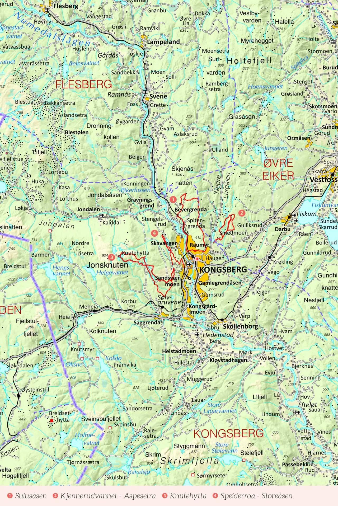 Oversiktskart over Kongsberg med inntegnet rute. Fra Stisykling i Norge.
