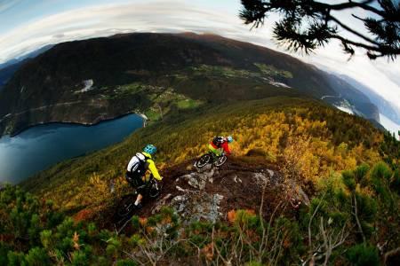 Stig Wigum og Jørgen Dølvik Husbyn på vei ned fra Storhaugen. Ved jordene lenger nede i bildet skimtes Eide, hvor stien kommer ut av skogen. / Stisykling i Norge.