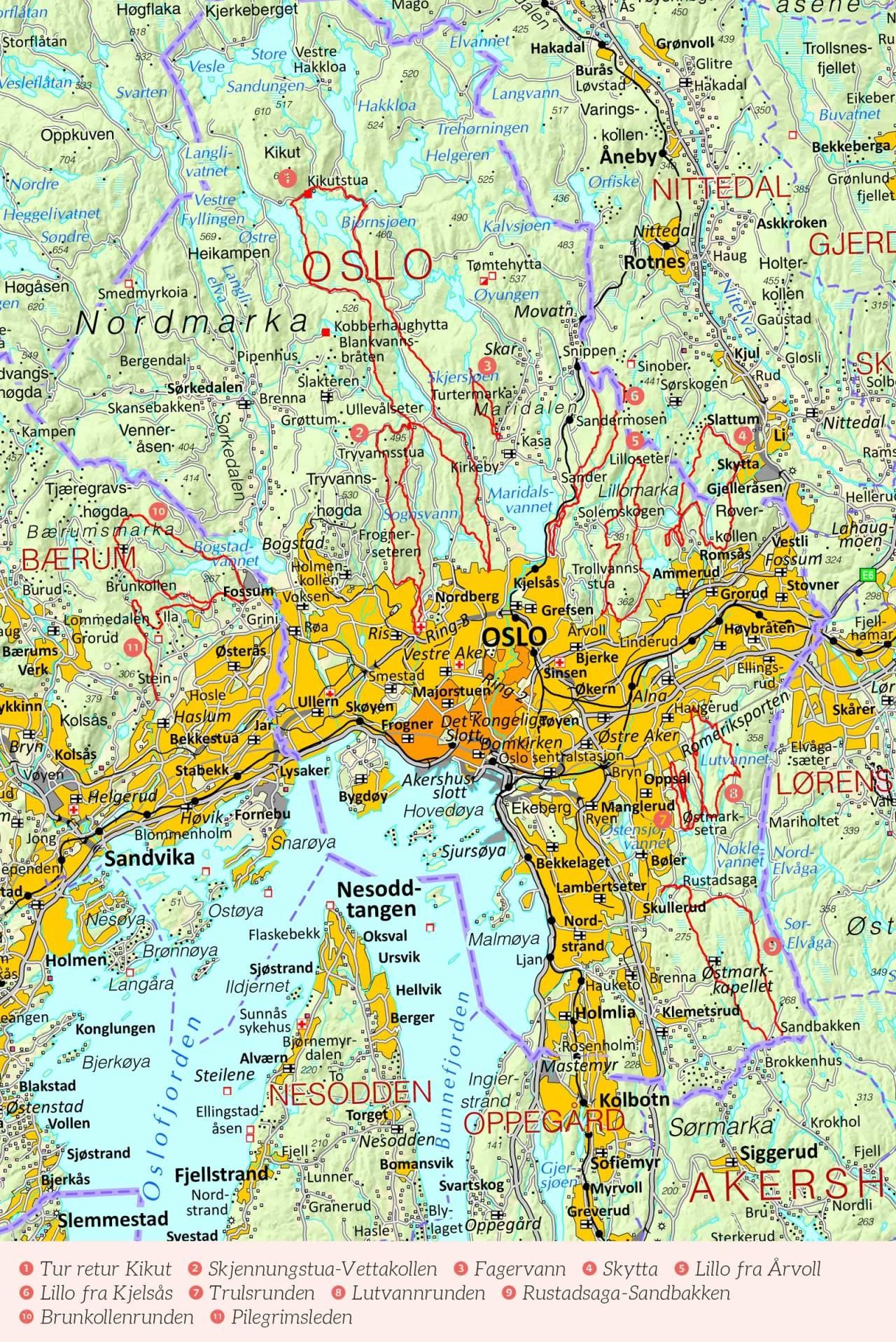 Oversiktskart over Oslo med inntegnet rute. Fra Stisykling i Norge.