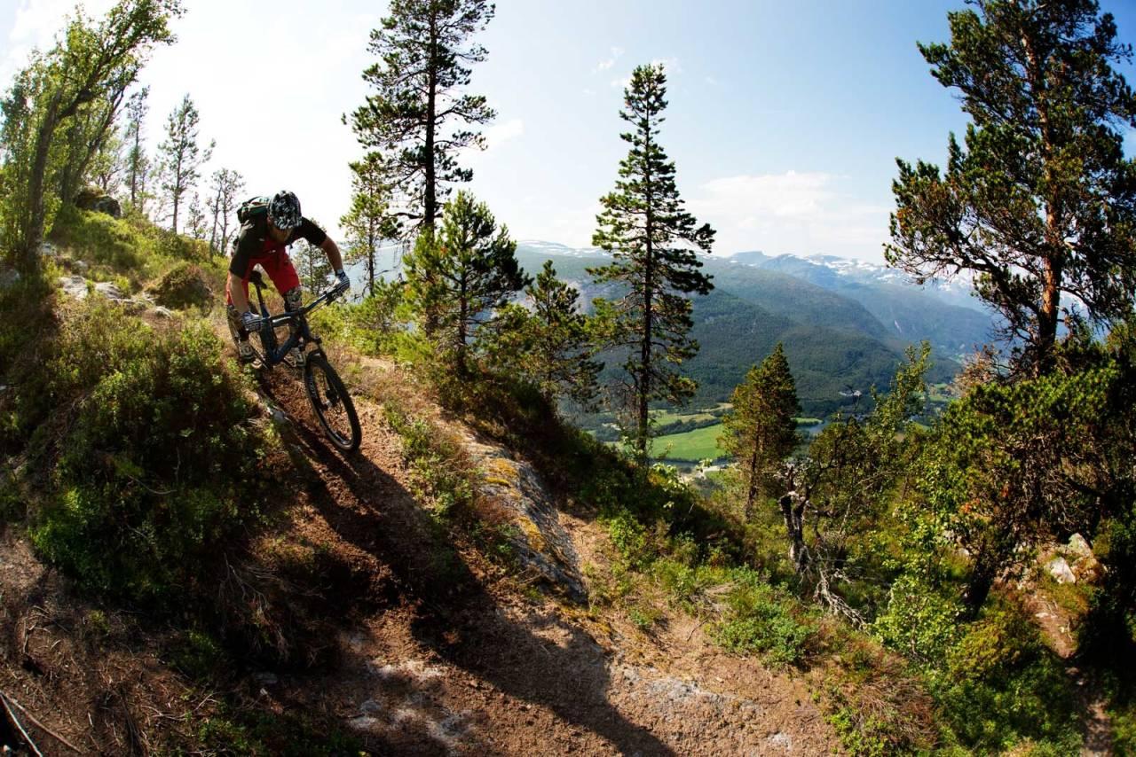 Sigleif Myklebust tar fatt på øverste del av Veten-stien. Utforkjøringen er både variert og krevende. / Stisykling i Norge.