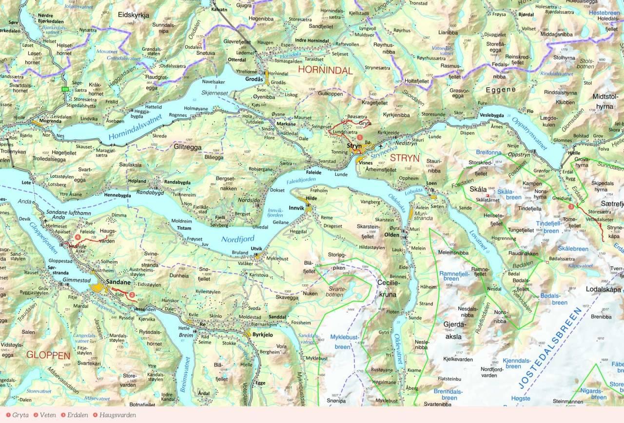Oversiktskart over Stryn/Nordfjord med inntegnet rute. Fra Stisykling i Norge.