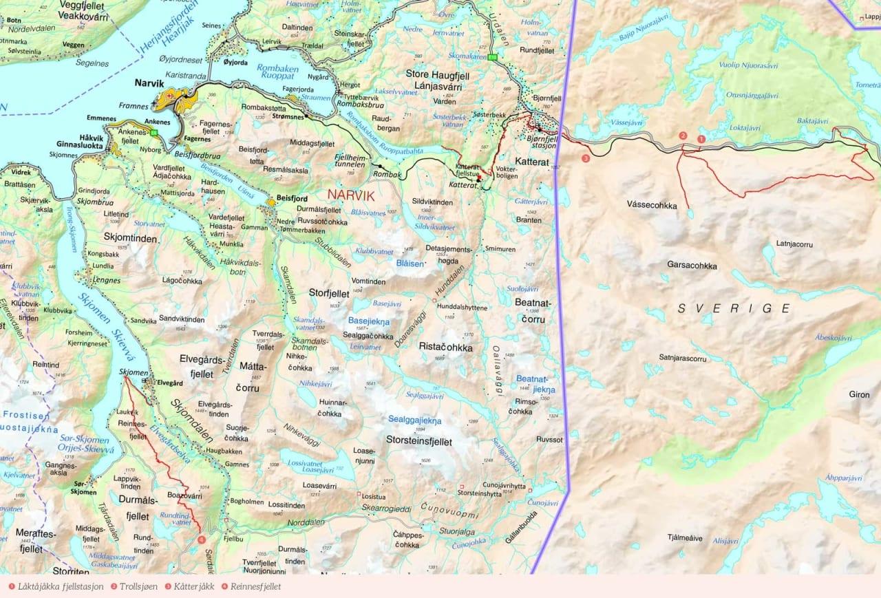 Oversiktskart over Narvik med inntegnet rute. Fra Stisykling i Norge.