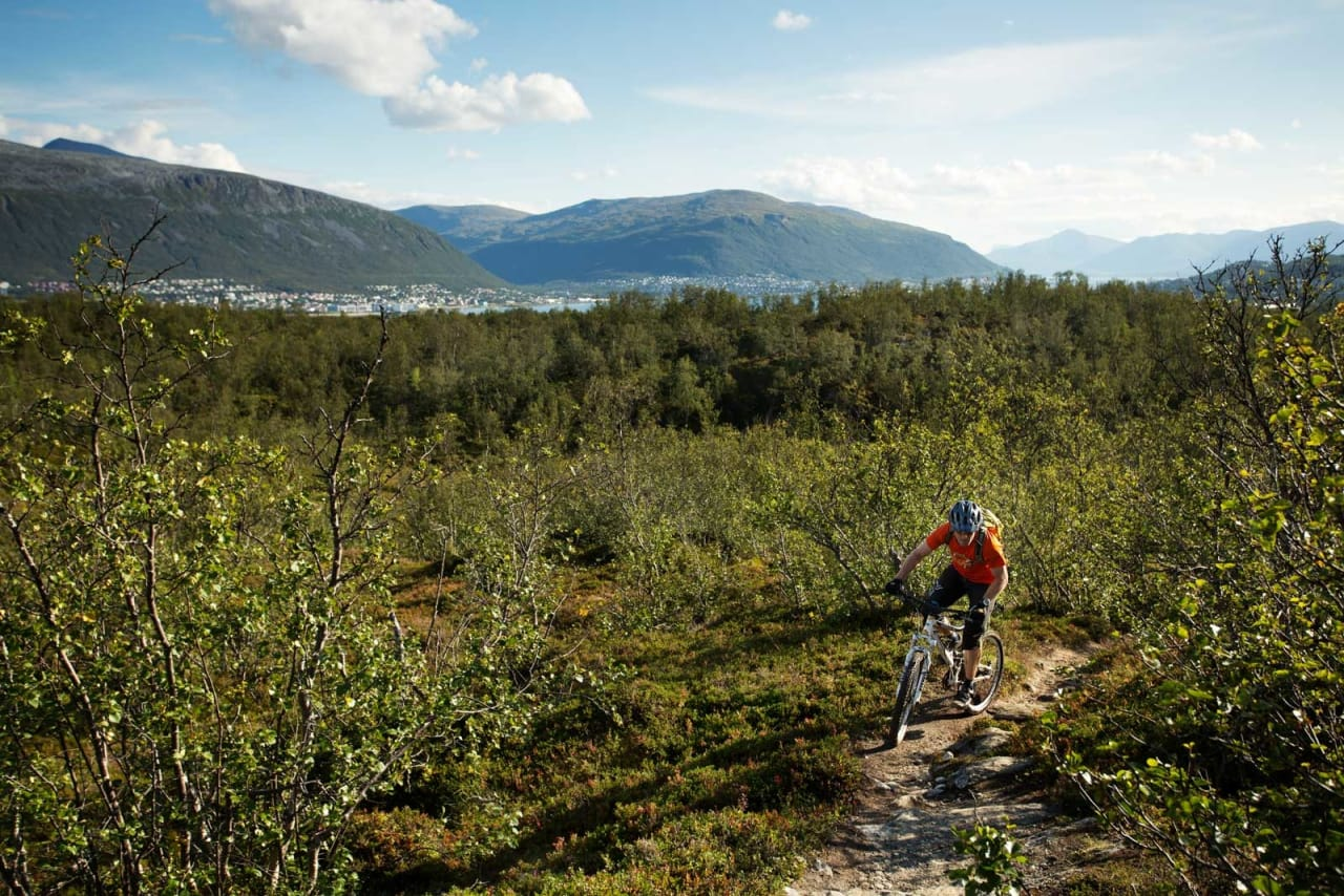 På Tromsøya har Tomas Løkken fine stier praktisk talt utenfor stuedøra. / Stisykling i Norge.