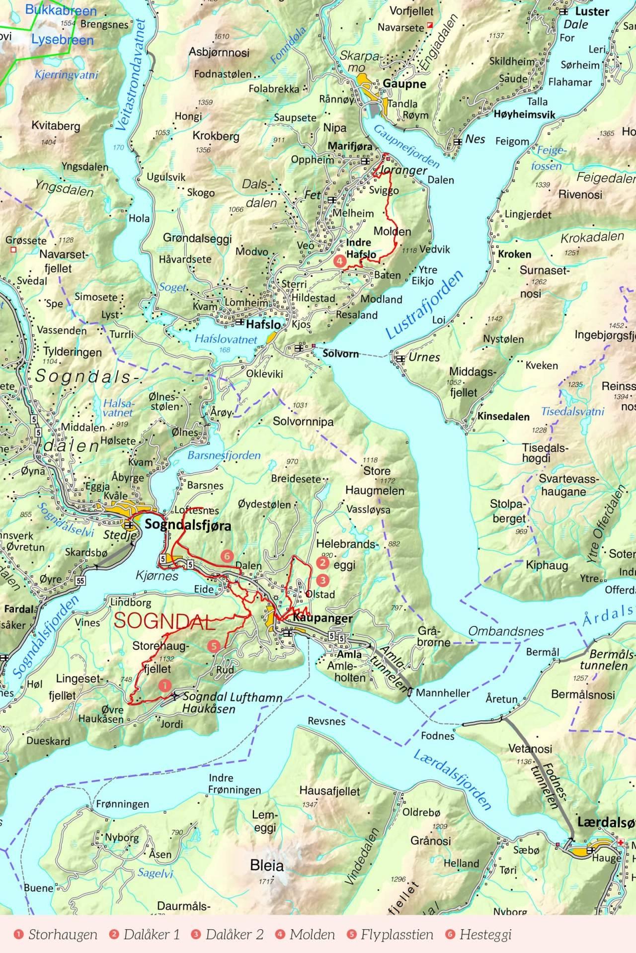 Oversiktskart over Sogn med inntegnet rute. Fra Stisykling i Norge.