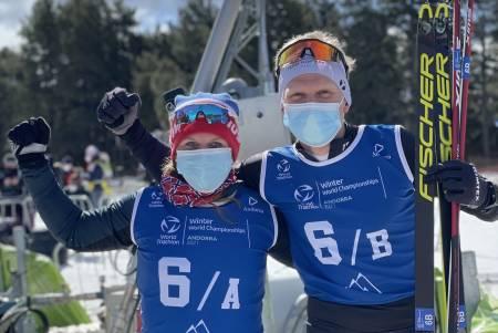 Elisabeth Sveum og Hans Christian Tungesvik tok gull på mixed stafett under VM i vintertriatlon
