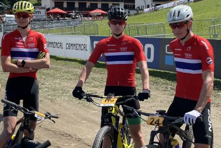 tre ryttere i klassen menn U23 under verdenscupen i Les Gets Knut Røhme, Ole Sigurd Rekdahl og Mats Tubaas Glede