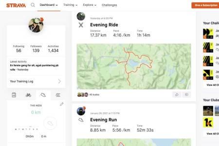 hva er strava sykkel trening app heatmap