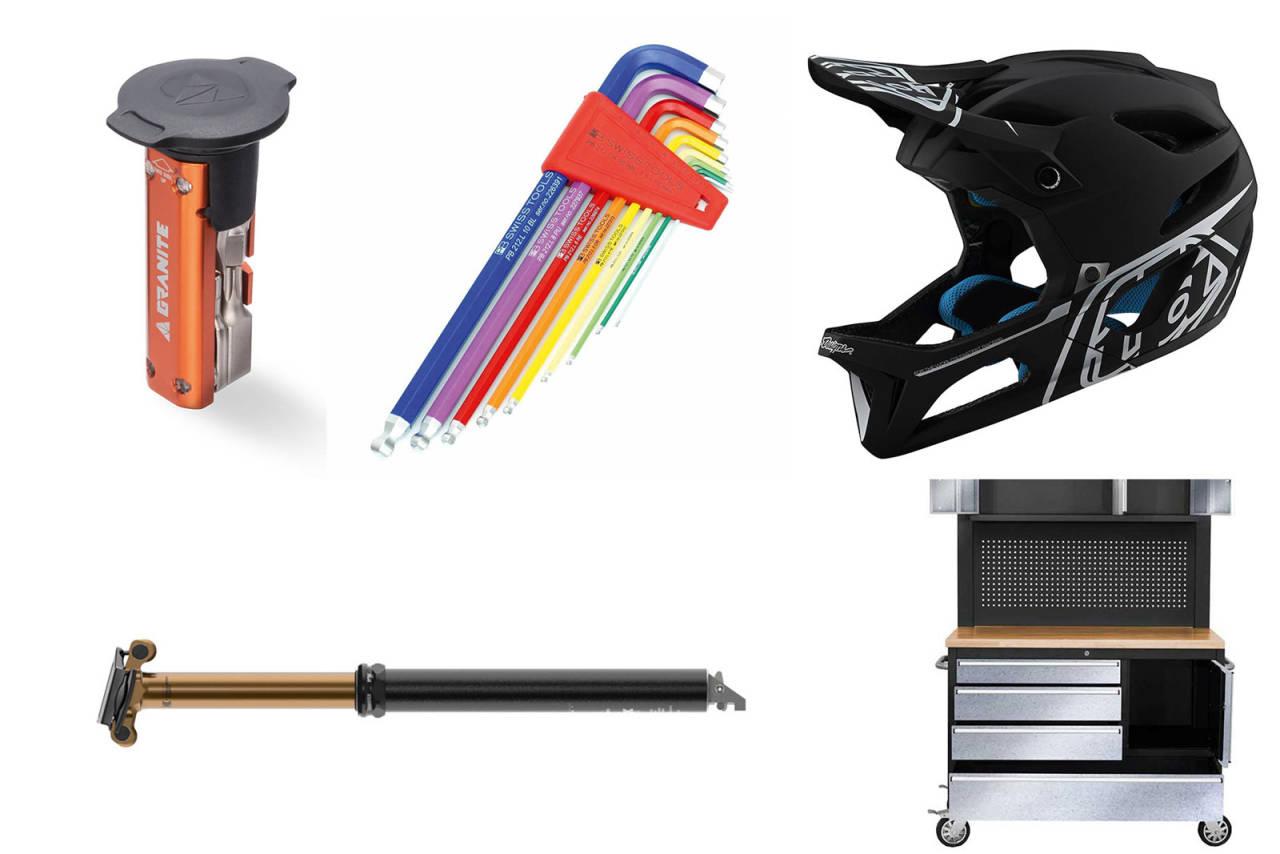 Granite design stash tool, PB Swiss tool-set, Troy Lee Stage, Fox Transfer, P-Lindeberg-benk.