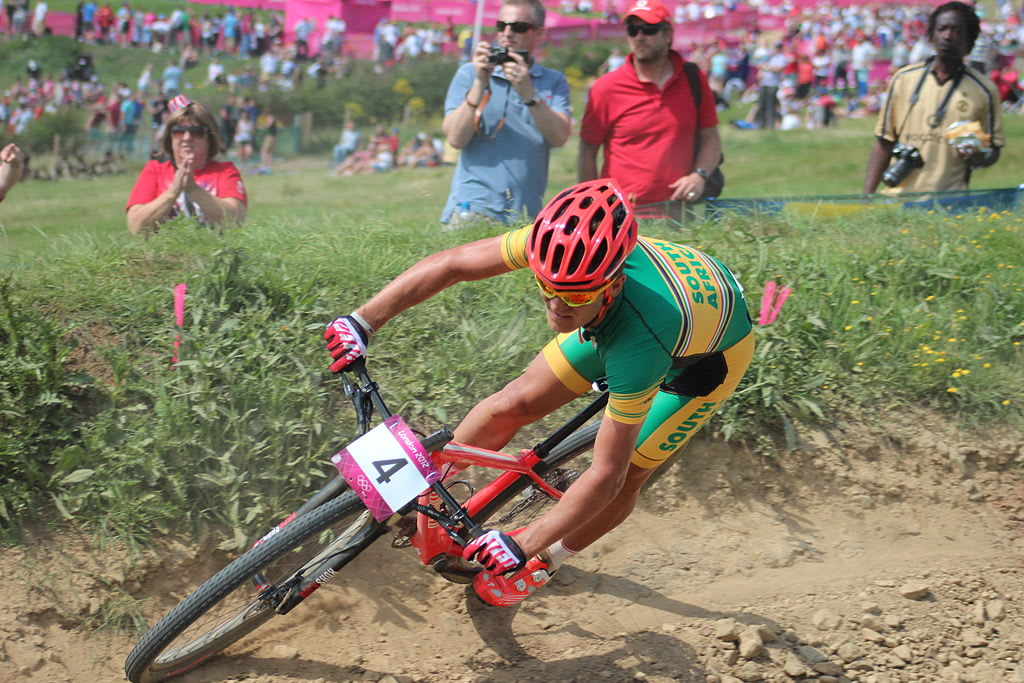 OL-HÅP: Burry Stander representerte Sør-Afrika under OL i London og tok en sterk 5. plass i rundbanerittet. Foto: Steve Fair